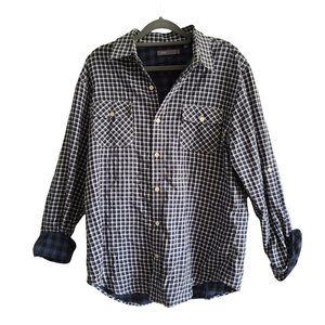 Vince Plaid Long Sleeve Button Down Shirt Blue Large